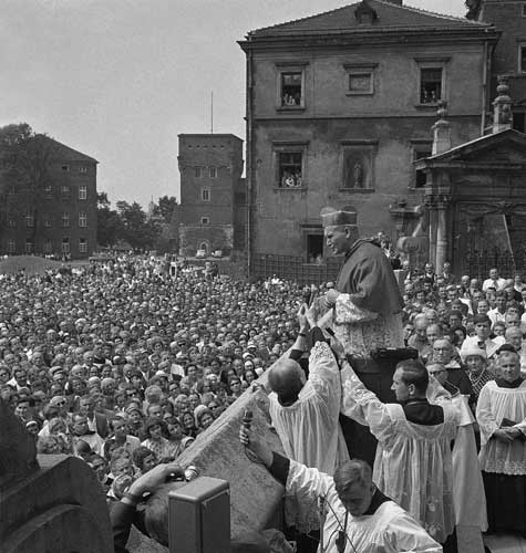 Cardinal Karol Wojtyla greets the crowd from the ramparts of the 600-year old Wawel Cathedral in Krakow, Poland, July 9, 1967. He was made Cardinal on May 29 in Rome by Pope Paul VI.  <span class=meta>(&#40;AP Photo&#41;)</span>